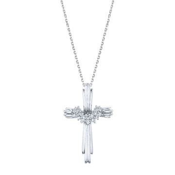 14kt White Gold Draped Diamond Cross Pendant