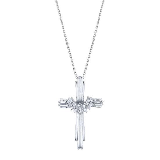 14kt White Gold Draped Diamond Cross Pendant