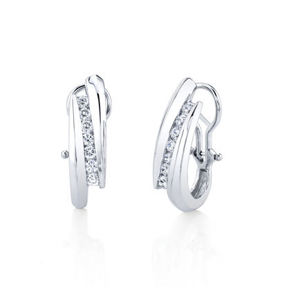 14kt White Gold Bold Channel Set Diamond Hoops