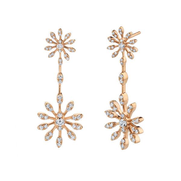 14kt Rose Gold Starburst Diamond Drop Earrings