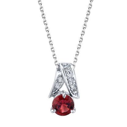 14kt White Gold Round Garnet and Diamond Pendant