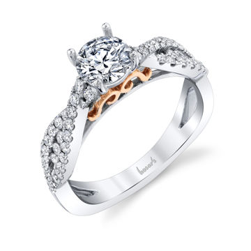 14kt White and Rose Gold Infinity Inspired Diamond Engagement Ring