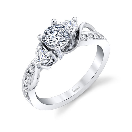 14kt White Gold Vine-Inspired Three Stone Engagement Ring