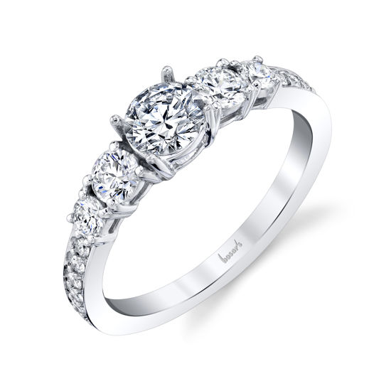 14kt White Gold 5 Stone Diamond Engagement Ring