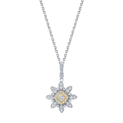 14kt White and Yellow Gold Blooming Diamond Pendant