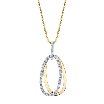 14kt Yellow and White Gold Double Oval Diamond Pendant