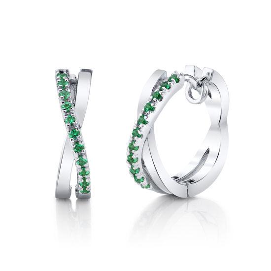 14kt White Gold Emerald Criss Cross Hoop Earrings