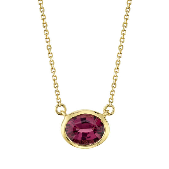 14kt Yellow Gold Stationary Bezel Set Oval Garnet Necklace