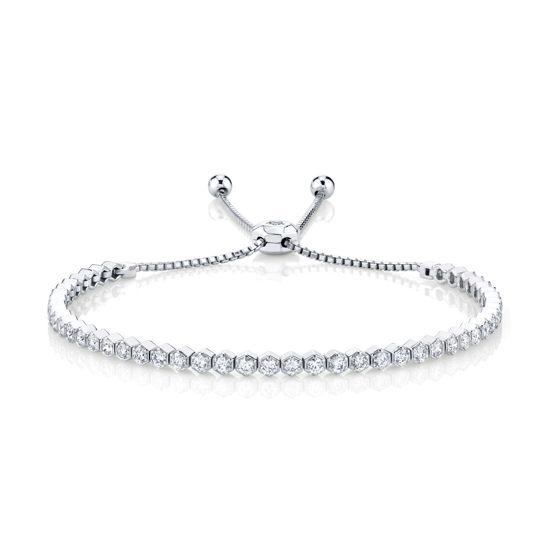 14kt White Gold Diamond Hexagon Bolo Bracelet