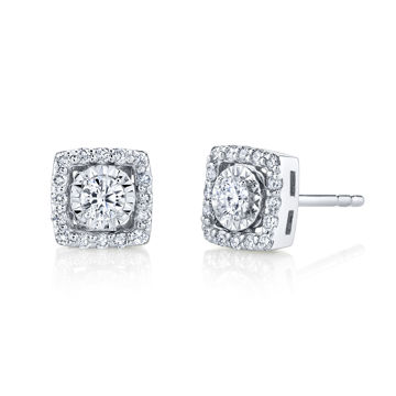 14kt White Gold Square Diamond Halo Illusion Stud Earrings