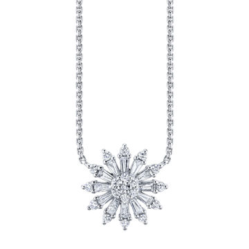 14kt White Gold Diamond Sunburst Necklace