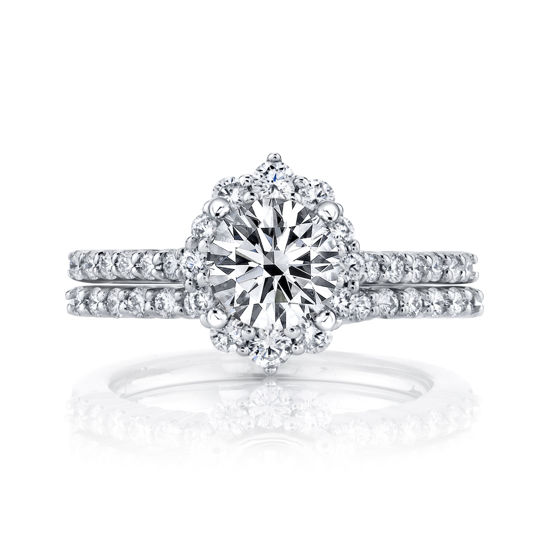 14kt White Gold Victorian Inspired Diamond Halo Engagement Ring