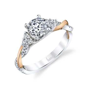 14kt White and Rose Gold Entwined Diamond Engagement Ring