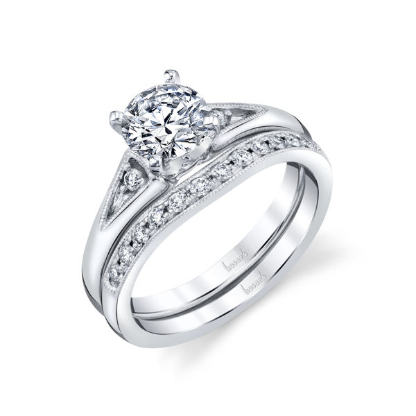 14kt White Gold Milgrained Diamond Cathedral Diamond Engagement
