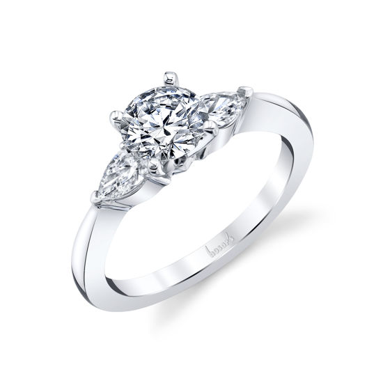 14kt White Gold Pear Shaped Diamond Accent Engagement Ring
