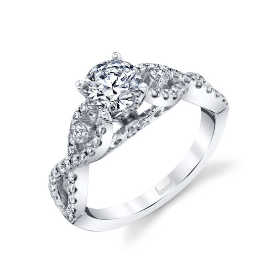 14kt White Gold Twisted Diamond Infinity Engagement Ring
