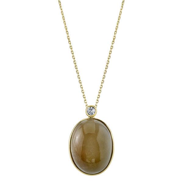 14kt Yellow Gold Moonstone and Diamond Pendant