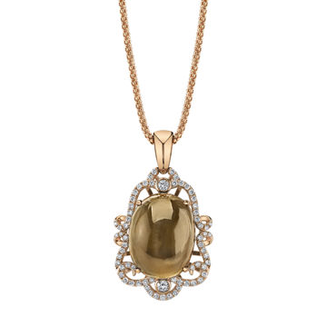 14kt Rose Gold Victorian Inspired Moonstone and Diamond Pendant