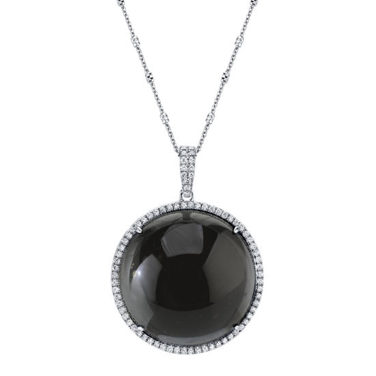 14kt White Gold Assembled Crystal, Hematite, and Diamond Halo Pendant