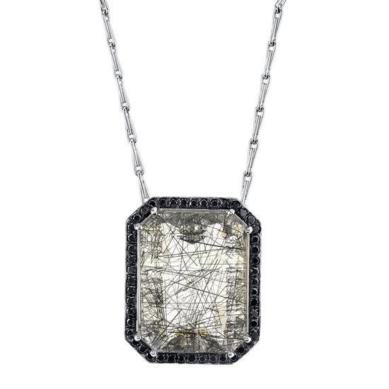 14kt White Gold Rutilated Quartz and Black Diamond Halo Pendant