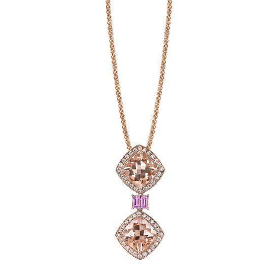 14kt Rose Gold Morganite, Pink Sapphire, and Diamond Pendant