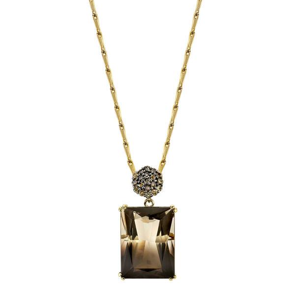 14kt Yellow Gold Bi-Colored Quartz and Champagne Diamond Pendant