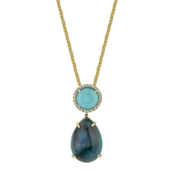 14kt Yellow Gold London Blue Topaz, Turquoise, Mother of Pearl and Diamond Pendant
