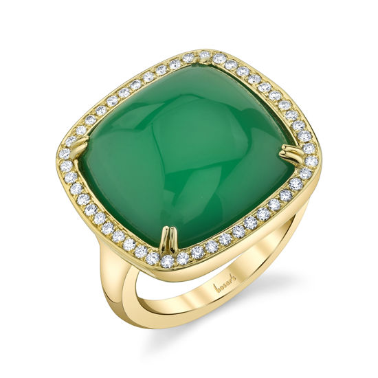 14kt Yellow Gold Green Onyx and Diamond Halo Ring