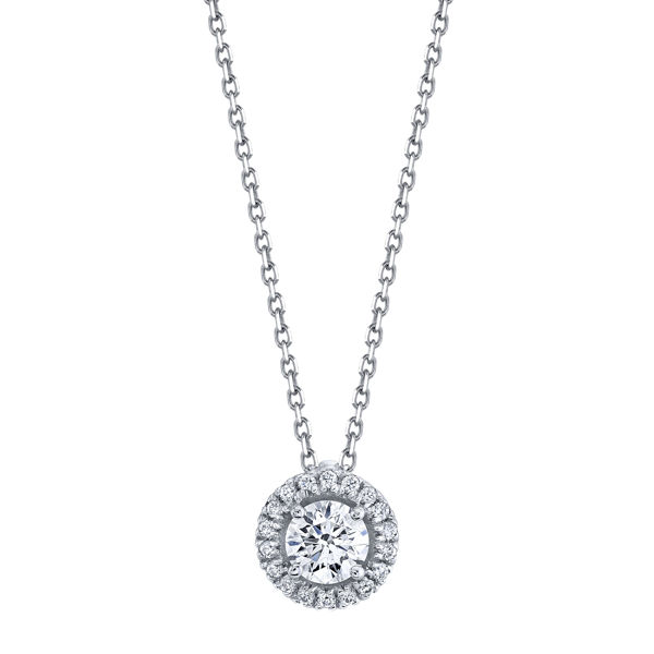 14kt White Gold Classic Diamond Halo Pendant