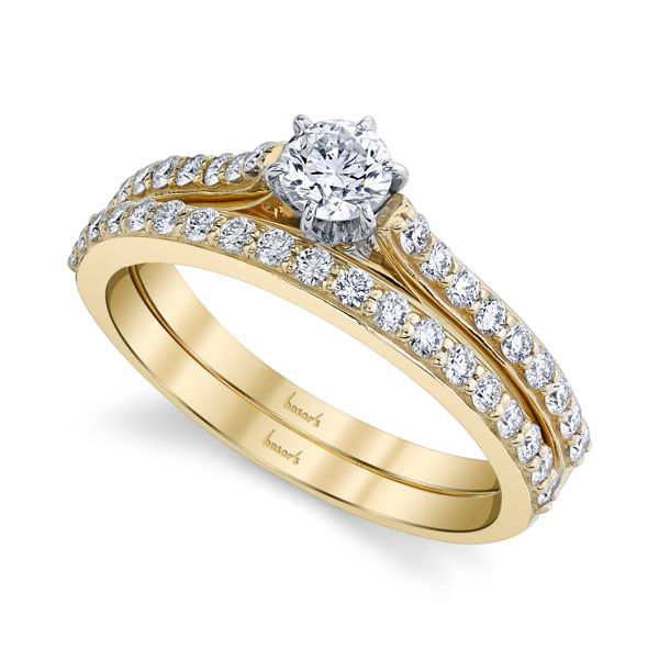 14kt Yellow Gold Traditional Diamond Cathedral Engagement Ring