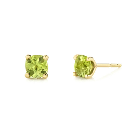 14kt Yellow Gold Cushion Cut Peridot Studs