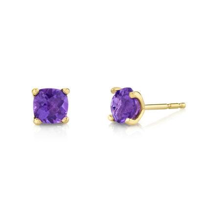 14kt Yellow Gold Cushion Cut Amethyst Stud Earrings
