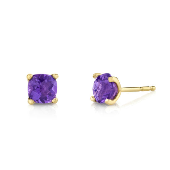 14kt Yellow Gold Cushion Cut Amethyst Stud Earrings