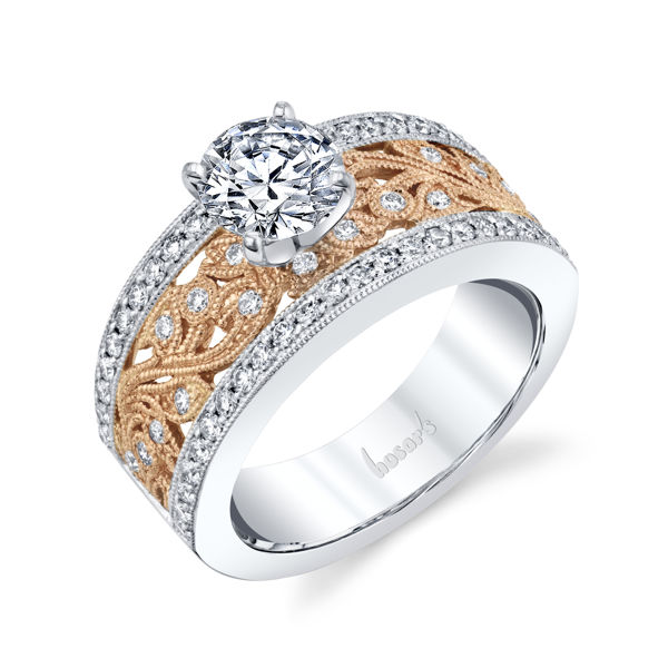 14kt White and Rose Gold Vintage Diamond Floral Engagement Ring