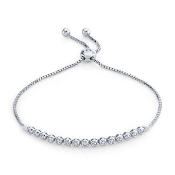14kt White Gold Bezel Set Diamond Bolo Bracelet