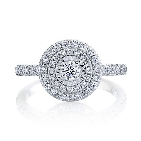 14kt White Gold Double Halo Illusion Diamond Ring