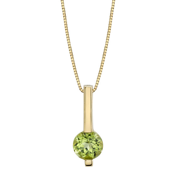 14kt Yellow Gold Round Peridot Drop Bar Pendant