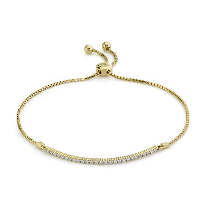 14kt Yellow Gold Shared Prong Diamond Bar Bolo Bracelet