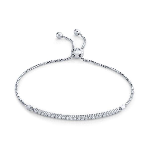14kt White Gold Shared Prong Diamond Bar Bolo Bracelet
