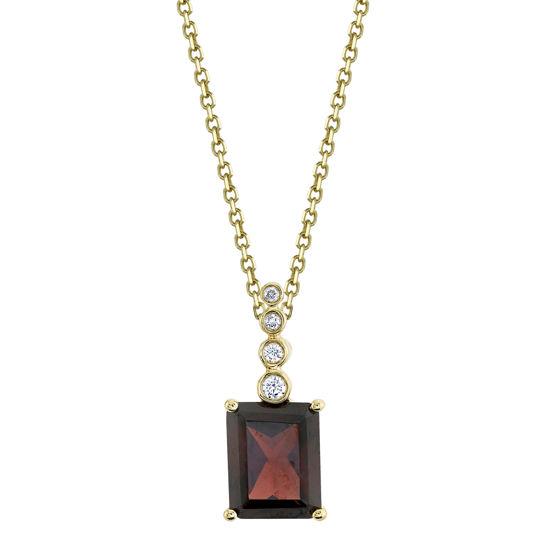 14kt Yellow Gold Pyrope Garnet Pendant with a Bezel Set Diamond Bale