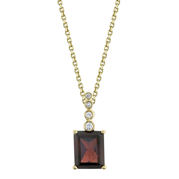 14kt Yellow Gold Pyrope Garnet Pendant with a Bezel Set Diamond Bale