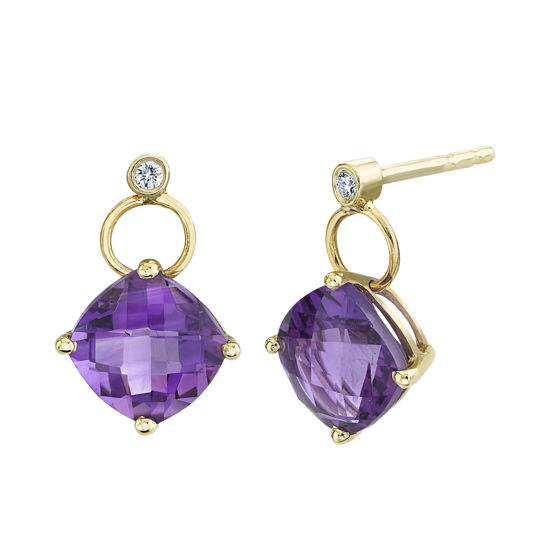 14Kt Yellow Gold Cushion Cut Amethyst and Diamond Dangle Earrings