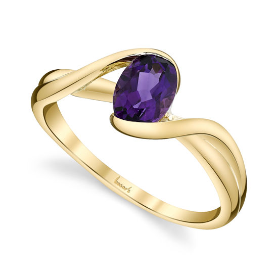 14kt Yellow Gold Swirling Bypass Amethyst Ring