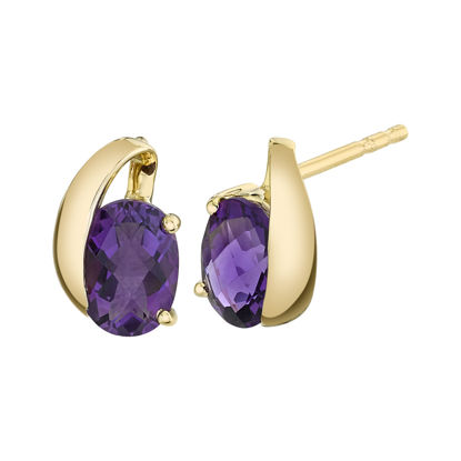 14kt Yellow Gold Iconic Amethyst Studs