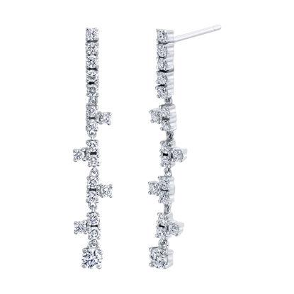 14kt White Gold Stairway to Stars Diamond Drop Earrings